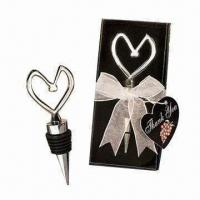 Wholesale Heart-shaped Metal Bottle Stopper in PVC Case with Ribbon and Thank You Card from china suppliers