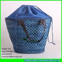 Wholesale LUDA top closure straw totes navy blue cornhusk straw designer beach bags from china suppliers