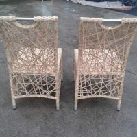 Outdoor rattan dining chair with 304 stainless steel handle