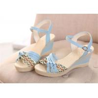 Wholesale Colorful PU Straps Upper Women'S Wedge Sandals , Beautiful Ankle Strap Wedge Sandals from china suppliers