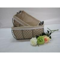 Quality storage mesh wire baskets with fabric liner set of two for sale