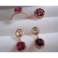 Wholesale 18k rose gold jewelry set,ruby ring,ruby earrings,fine jewelry,fashion jewelry from china suppliers