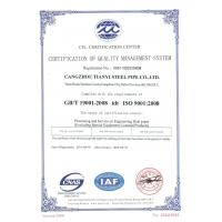 CANGZHOU TIANYI STEEL PIPE CO.,LTD Certifications