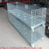 Wholesale folding metal storage cages with wheels/storage racks/metal storage containers/security cages for storage from china suppliers