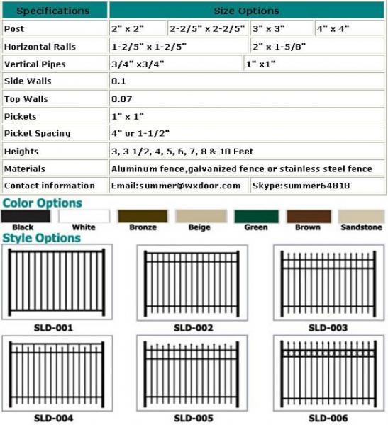 aluminum fence size