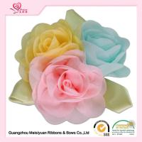 Wholesale Colorful Handmade Chiffon Flowers With Green Leaves , beautiful handmade rose flowers from china suppliers