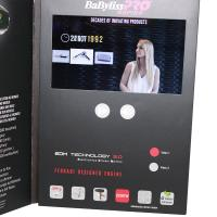 Advertising promotional lcd video greeting card with Magnetic switch , ON / OFF button switch