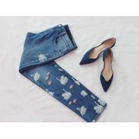 Wholesale Straight Leg Slim Fit Printed Denim Jeans For Spring / Autumn / Summer from china suppliers