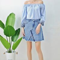 Wholesale Young Ladies Short Denim Mini Skirt With Pearls , Women's A Line Denim Skirt from china suppliers