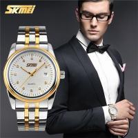 Wholesale Stylish Leisure Mens Metal Strap Watch Gold Hands 30M Waterproof from china suppliers