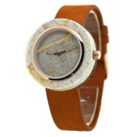Wholesale Ivory White Marble Stone Dial/ Japanese Quartz Wood Watch With Genuine Leather Strap from china suppliers