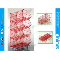 Wholesale 4 Layers Red Storage Wire Dump Bins Stackable Basket with Powder Coated from china suppliers