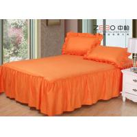 Wholesale 3cm Strip Elegant Hotel Bed Skirts Detachable Orange Color 200gsm from china suppliers