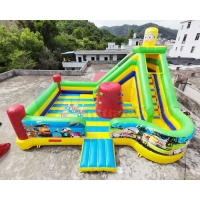 China Digital Printing Minion Inflatable Playground Kids Combo Slide Bouncing Castle on sale