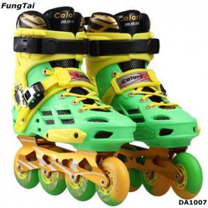 China Street Slalon Inline Skate Shoes 4 Wheels Roller Patins Shoe Men Women Blade Skating Shoes Green Yellow Color  (DA1007) on sale