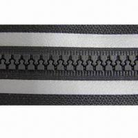 Buy cheap Plastic open end zipper with reflective stripes from wholesalers