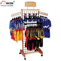 Wholesale Wooden Retail Clothing Store Fixtures Grid Wall Panel Display With Hooks from china suppliers
