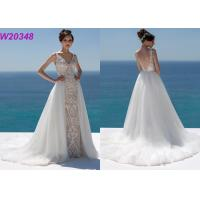 China Lace And Sequinned V Neckline Mermaid Style Wedding Dress Detachable Over Skirt for sale
