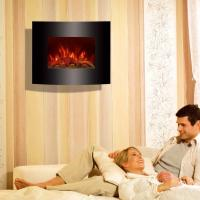 """Wholesale 26""""Black Curved Tempered Glass Wall Mounted Electric Fireplace Heater(Log Fuel) EF455S/EF455SLB room heater led flame from china suppliers"""