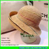 Wholesale LDMZ-006 natural raffia straw crochet women beach hats from china suppliers