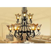 Wholesale Commercial Decorative Amber Glass Large Hotel Chandeliers 9 Light with Adjustable Chain from china suppliers