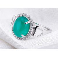 Quality Handmade Customized Sterling Silver Jewelry Green Onxy Gemstone CZ Paved Ring For Lady for sale
