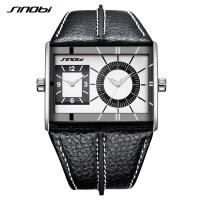 Buy cheap SINOBI Multiple Time Zone Men Watches Stainless Steel Men's Leather Quartz Wristwatches from wholesalers