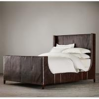 Wholesale American Style Grayson Leather Upholstered Sleigh Bed With Footboard from china suppliers