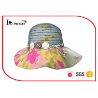 Wholesale Colorful Polyester Flower Brim Wide Brimmed Straw Sun Hats For Women from china suppliers