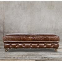 Wholesale Modern Genuine Leather Leather Ottoman Stool , leather cocktail ottomans from china suppliers