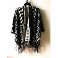 China Popular Sweater style in Europe Womens's fashion jacquard poncho with tassel on sale