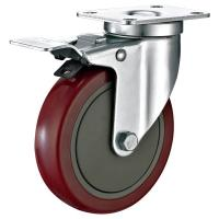 """Wholesale 5""""X1-1/4"""" Industrial Trolley PU Caster Wheel With Total Locking Brakes Heavy Duty from china suppliers"""