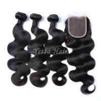 Wholesale Malaysian Body Wave Hair Bundles With 4 x 4 Closure Unprocessed Human Hair Weave from china suppliers