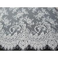 Wholesale Soft Nylon Cotton Eyelash Lace Trim , Wedding Dress White Lace Fabric from china suppliers