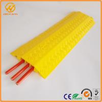Quality Yellow PVC Body 3 Channel Cable Guard Ramp / Cable Cross / Cable Cord Protector for sale