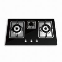 Quality Built-in Triple-burner Gas Stove with Toughened Glass Panel and 740 x 440 x 155mm Product Dimension for sale