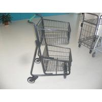 Wholesale Two deck Basket Grocery shopping trolley / cart with american handle printed logo from china suppliers