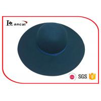 Wholesale Peacock Blue Round Felt Hat Ribbed Band Trim Fur Felt Fedora Hats from china suppliers