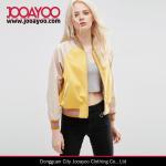 Wholesale Women Baseball Collar Long Sleeve Metallic Trim Yellow Casual Jacket from china suppliers