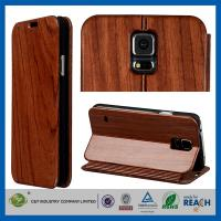Wholesale Samsung S5 Premium Leather Wallet Flip Wood Cell Phone Cases With Magnetic Closure from china suppliers
