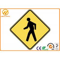 Wholesale Customized Traffic Warning Signs , Yellow Reflective Pedestrian Warning Sign from china suppliers