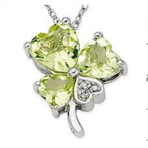 Wholesale Olive Quartz & Diamond Shamrock Pendant from china suppliers