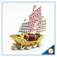 Wholesale Handmade Metal & Crystal Trinket Box Sailing Shape Jewelry Box SCJ679 from china suppliers