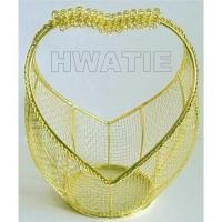 Wholesale A VALENTINE BASKET IN GOLD PLATED,WIRE MESH, HEART-SHAPED HANDLE, BEST FOR HOLIDAYS AND WEDDING from china suppliers