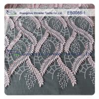130CM Width Embroidered Lace Fabric 70% Nylon 30% Cotton For Wedding Dress