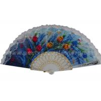 Wholesale Flower Design Printed Lace Hand Held Fans , Promotional Lace Folding Fans from china suppliers