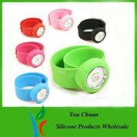 Wholesale Pink / Purple / Red Silicone Snap Slap Wristband Watch With Hello Ketty face from china suppliers