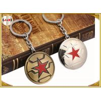 Wholesale Brass Brushed Custom Made Metal Engraved Name Keychains Five Pointed Star Design from china suppliers