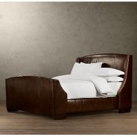 Wholesale Super king Warner Leather Upholstered Bed With Footboard and Nailheads from china suppliers