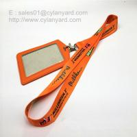Wholesale Dye sub printing lanyard with leather badge, dye sub print ribbon with metal swivel clip from china suppliers